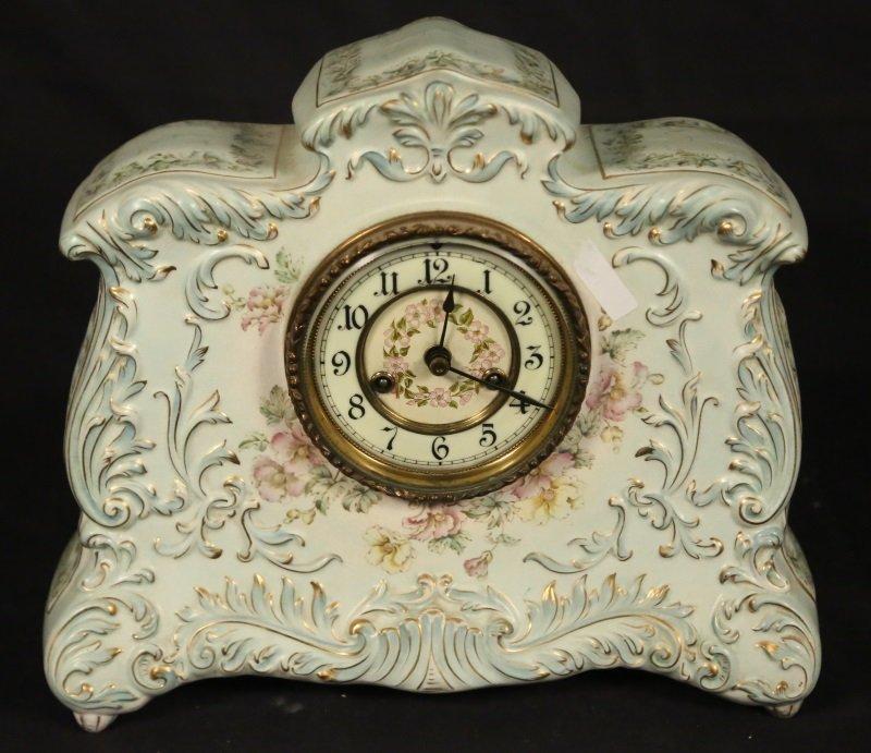 ANTIQUE PORCELAIN MANTLE CLOCK