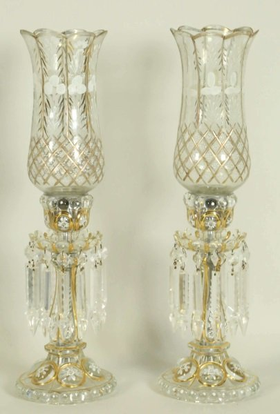PAIR OF 19th CENTURY BACCARAT HURRICANE LAMPS