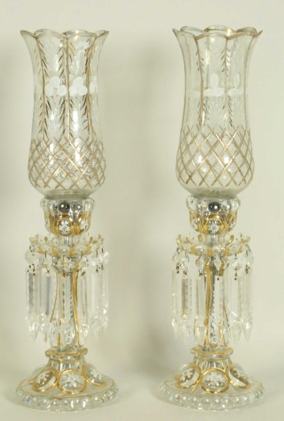 PAIR OF 19th CENTURY BACCARAT HURRICANE LAMPS - 2