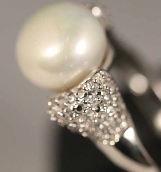 LADIES 10MM PEARL WHITE TOPAZ STERLING SILVER RING - 2
