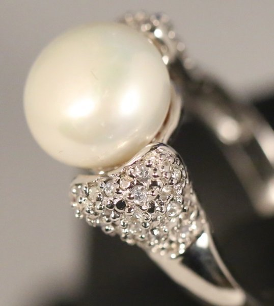 LADIES 10MM PEARL WHITE TOPAZ STERLING SILVER RING - 4