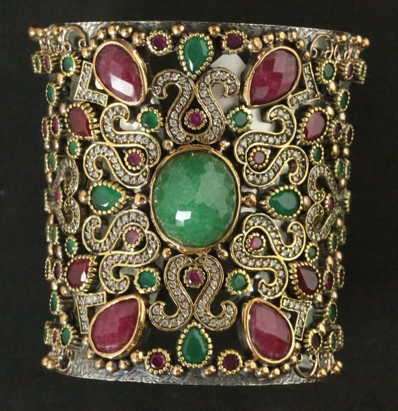 GOLD WASH OVER S. S. RUBY & EMERALD CUFF BRACELET