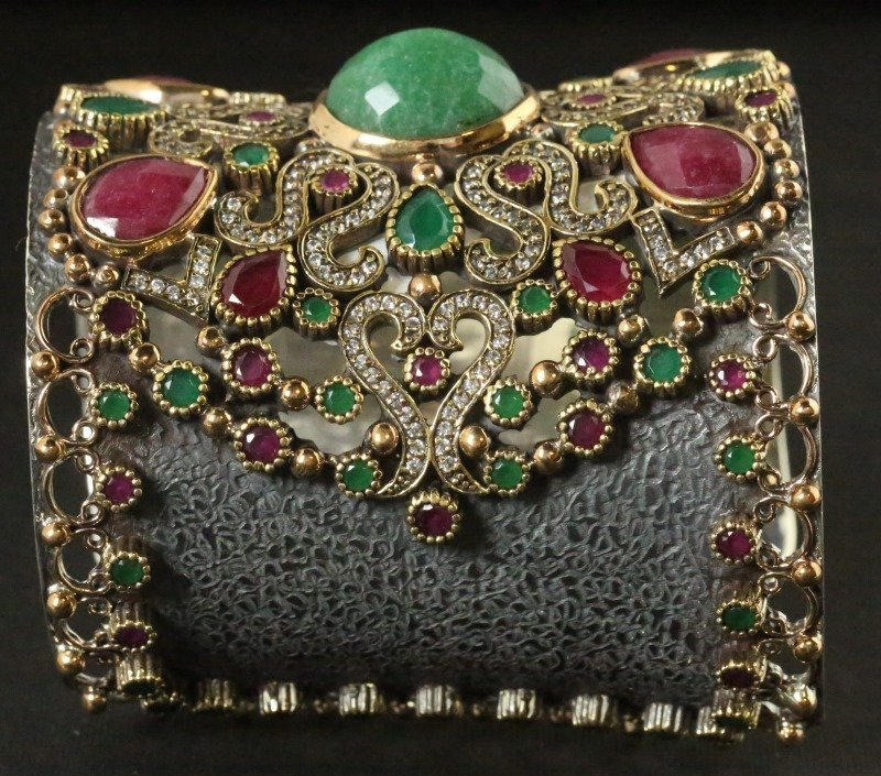 GOLD WASH OVER S. S. RUBY & EMERALD CUFF BRACELET - 2