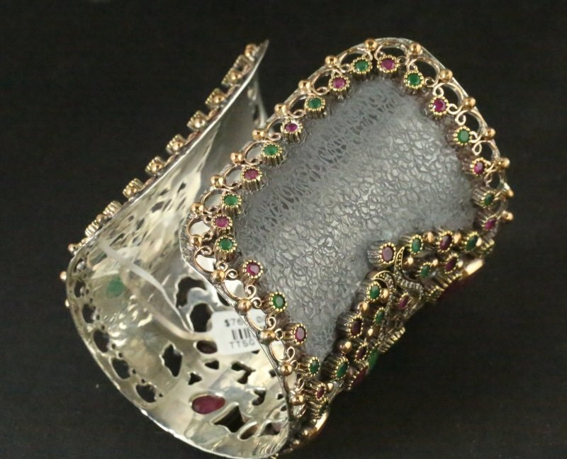 GOLD WASH OVER S. S. RUBY & EMERALD CUFF BRACELET - 3