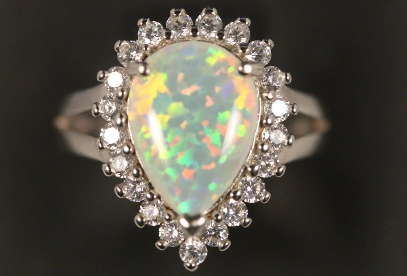 LADIES OPAL & WHITE TOPAZ STERLING SILVER RING