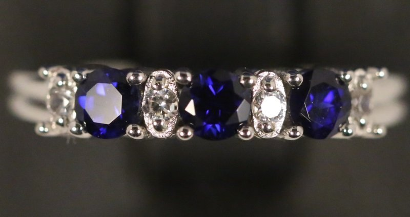 LADIES SAPPHIRE & WHITE TOPAZ STERLING SILVER RING