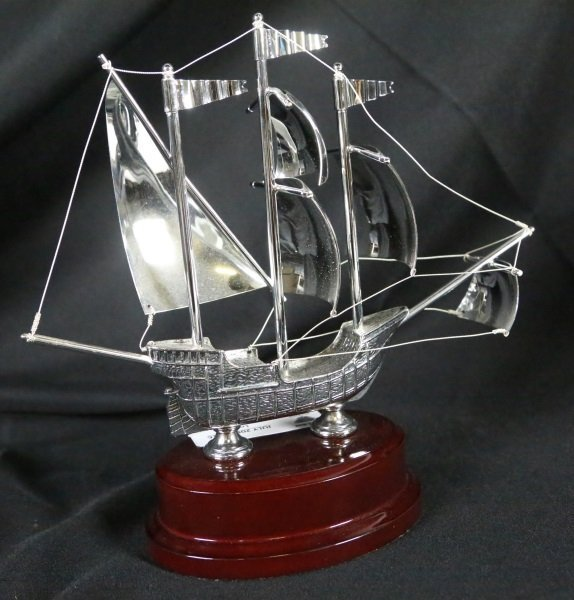 SILVERED METAL MODEL SHIP - 3