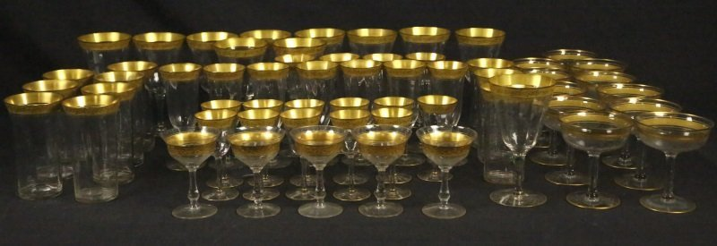 FIFTY-EIGHT PIECES OF TIFFIN GOLD RIMMED GLASSWARE