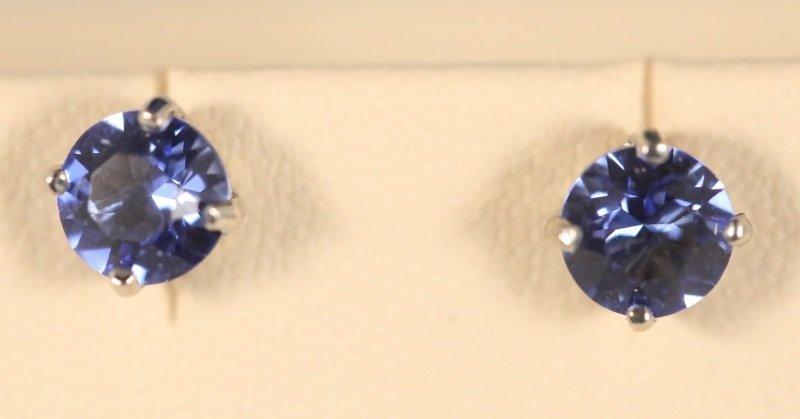 PAIR OF SAPPHIRE SOLITAIRE STERLING EARRINGS