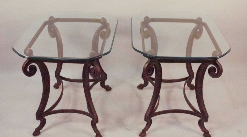 PAIR OF GLASS TOP CAST METAL BASE SIDE TABLES