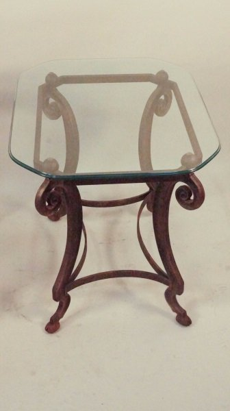 PAIR OF GLASS TOP CAST METAL BASE SIDE TABLES - 2