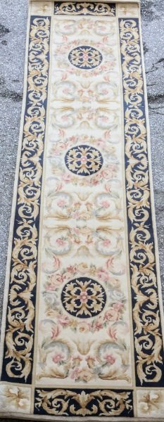 HAND KNOTTED ORIENTAL SAVONNERIE STYLE RUNNER