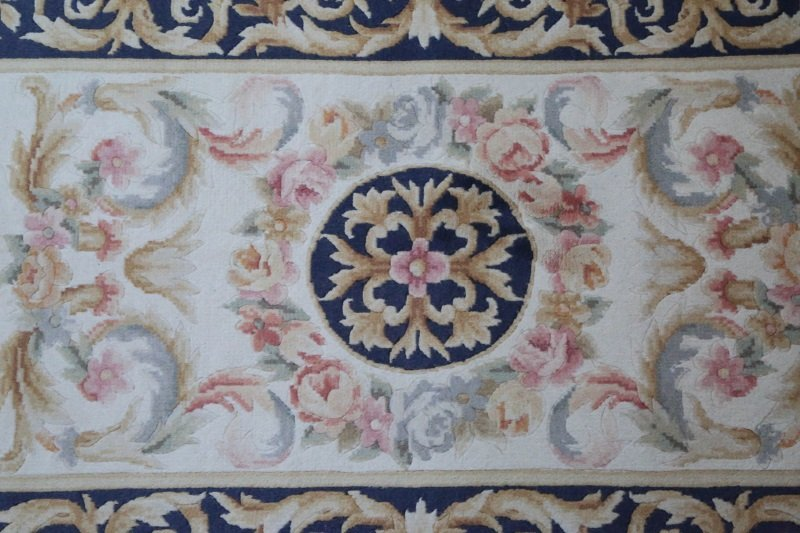 HAND KNOTTED ORIENTAL SAVONNERIE STYLE RUNNER - 2