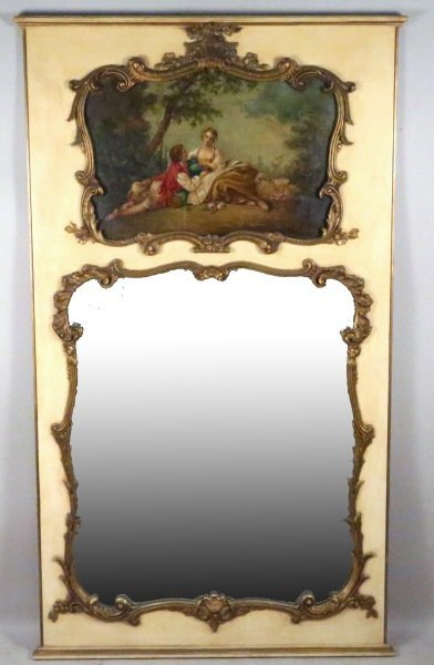 ANTIQUE FRENCH TRUMEAU WITH CENTER PANEL OIL
