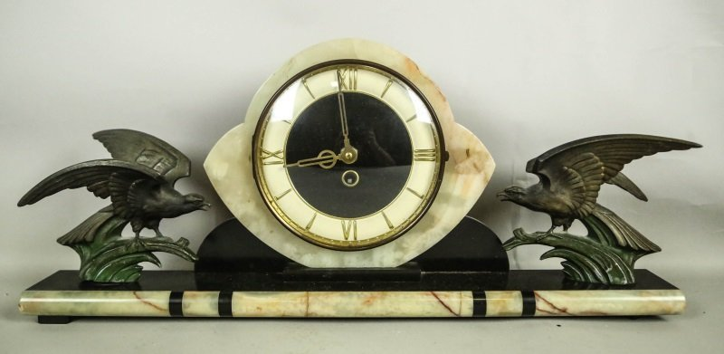 ART DECO CLOCK WITH A PAIR OF MATCHING BOOKENDS