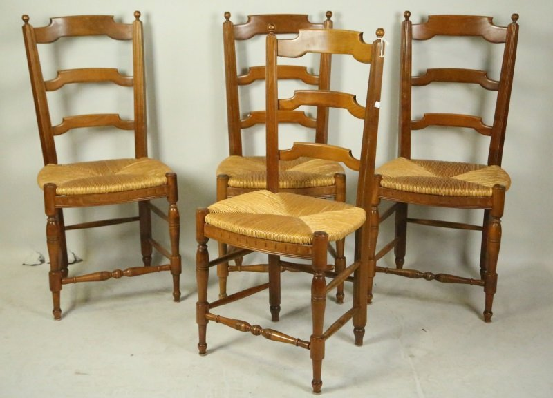 SET OF FOUR LADER BACK CHAIRS