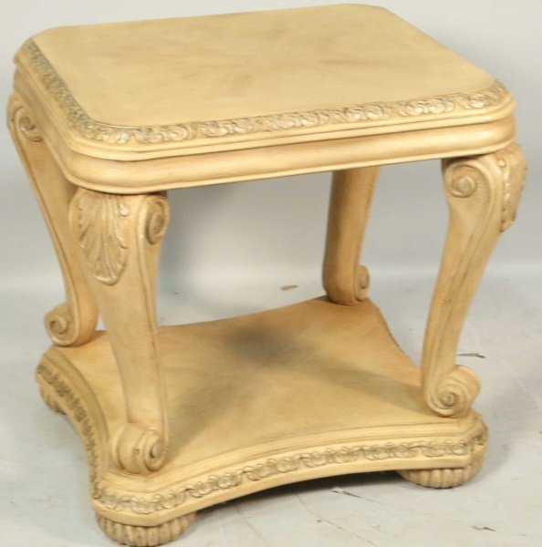 CARVED & PICKLED TWO-TIER END TABLE