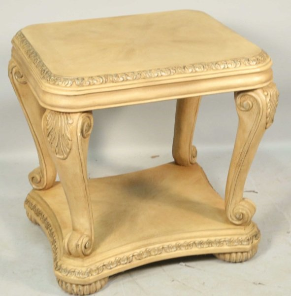 CARVED & PICKLED TWO-TIER END TABLE - 2