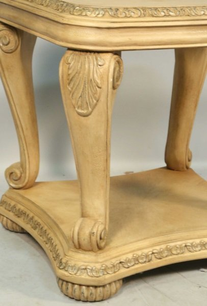 CARVED & PICKLED TWO-TIER END TABLE - 3