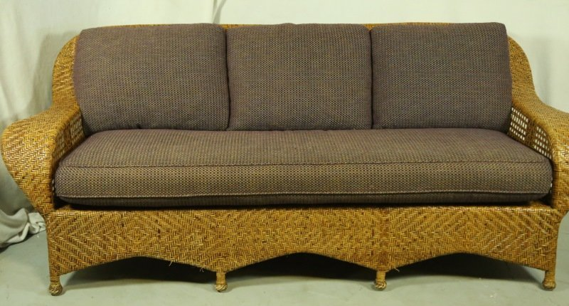 WOVEN RATTAN SOFA WITH CUSTOM UPHOLSTERY