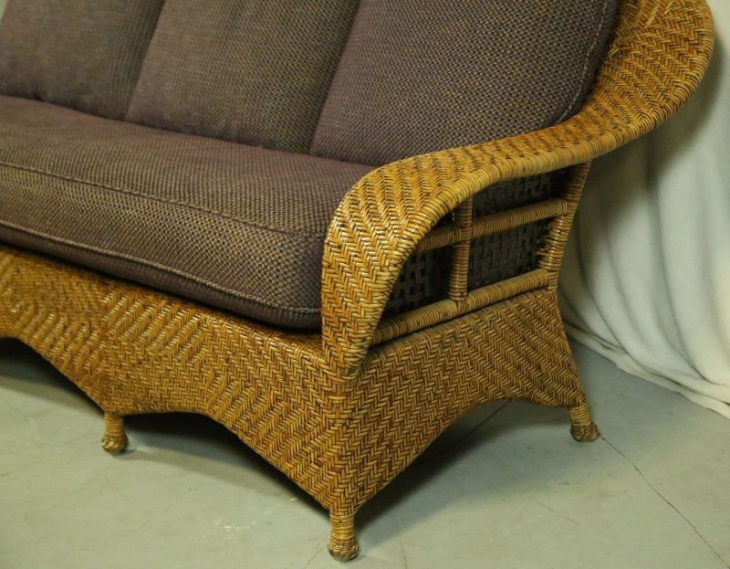 WOVEN RATTAN SOFA WITH CUSTOM UPHOLSTERY - 2