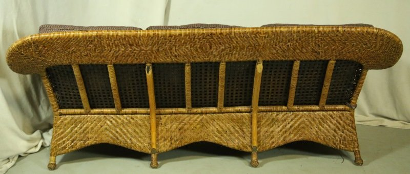 WOVEN RATTAN SOFA WITH CUSTOM UPHOLSTERY - 4
