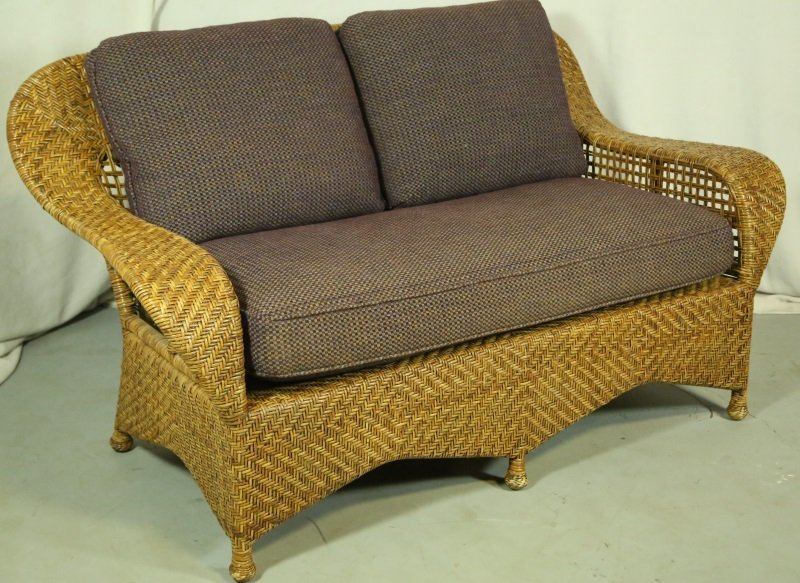 WOVEN RATTAN LOVESEAT WITH CUSTOM UPHOLSTERY