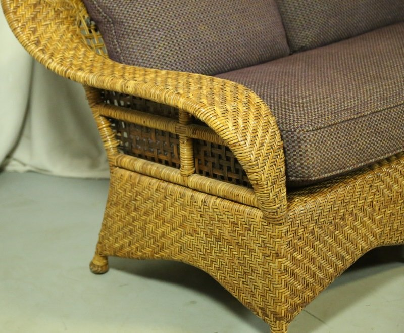 WOVEN RATTAN LOVESEAT WITH CUSTOM UPHOLSTERY - 2