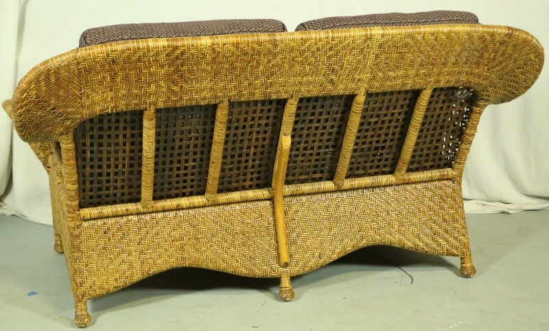 WOVEN RATTAN LOVESEAT WITH CUSTOM UPHOLSTERY - 4