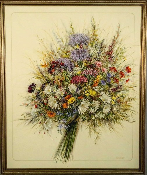 "WAINRIGHT ""GATHERED GARDEN FLOWERS"" OIL ON CANVAS"