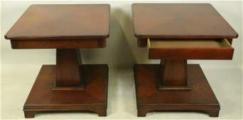 PAIR OF CONTEMPORARY MAHOGANY SIDE TABLES BY BAKER
