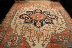 19th CENTURY FINE HAND KNOTTED PERSIAN SERAPI RUG