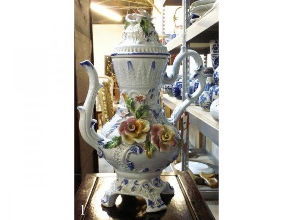 """2: 1337: Floral Teapot 18""""h"""