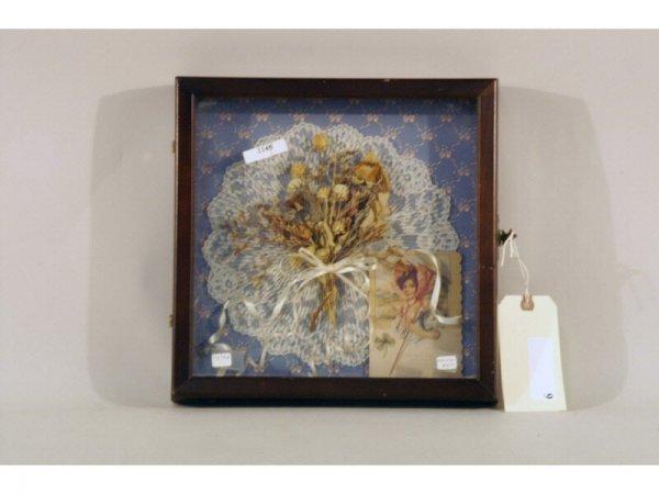 9: 1145: Wood box, glass frame, hinged, dried flower