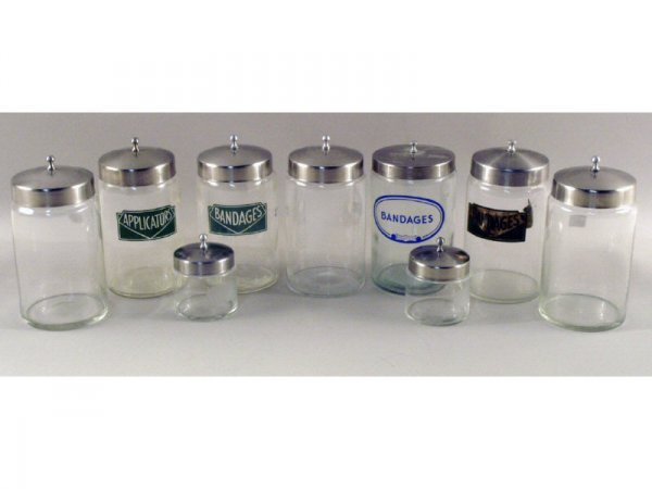 11: 1241: Box lot of 7 large and 2 small medical jars,