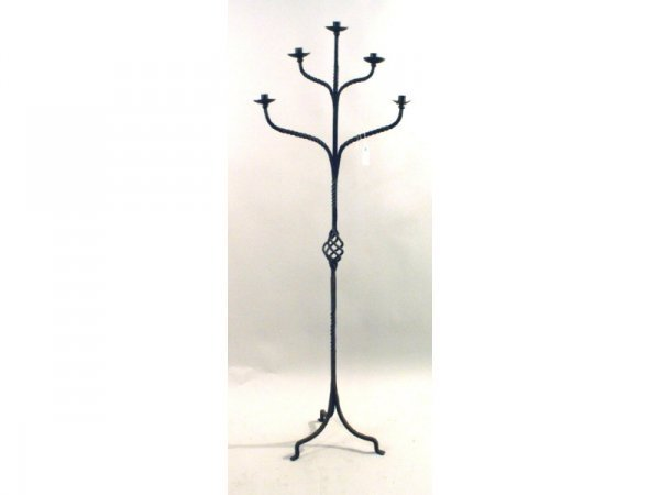 12: 1098: Black wrought iron candelabra   23 x 64 h