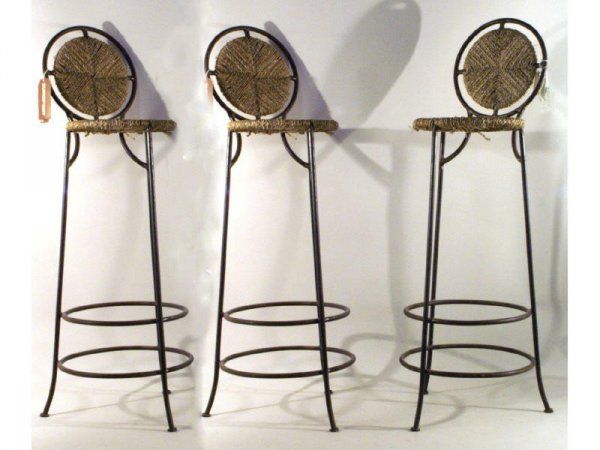 23: 1066: Set of three bar stools  18 base x 34 @ seat