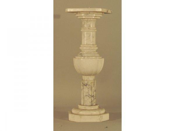 92: 991: White marble pedestal  8 1/2 x 8 1/2 x 25 1/4