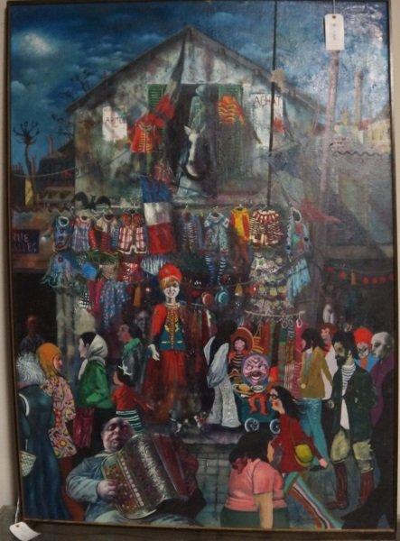 """NOEL ROCKMORE """"PARIS FLEE MARKET""""  ACRYLIC, 1971"""