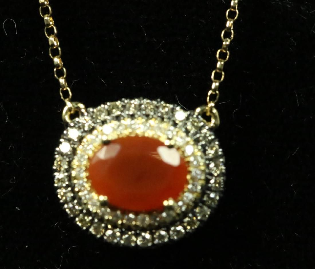 14KT YELLOW GOLD FIRE OPAL PENDANT ON CHAIN