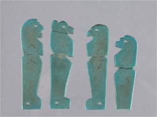 4 Egyptian Mummy Amulets, Sons of Horus