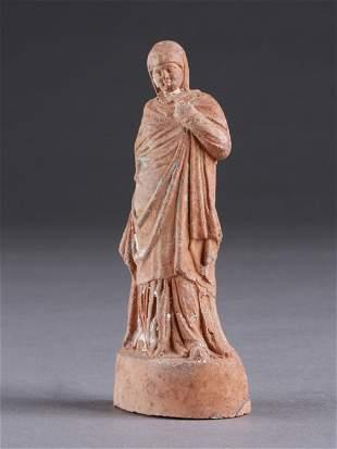 A Hellenistic Draped Tanagra Figurine