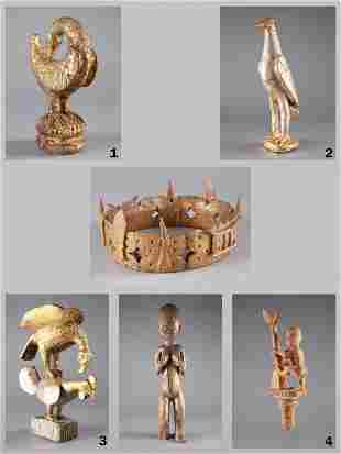 A Crown, a Figure and 4 Staff Finials