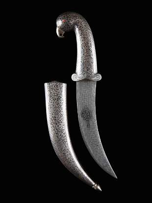 """A Indian Dagger with Bird Handle and Sheath, """"jambia"""""""