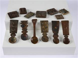 """6 Asante Gold Dust Spoons,""""n'sawa"""" and 7 Goldweights"""