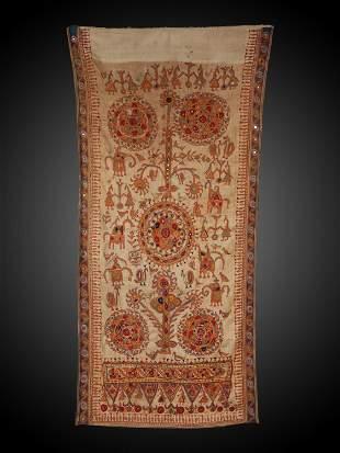 "A Gujarati Hand Embroidered Cover, ""dharaniyo"""