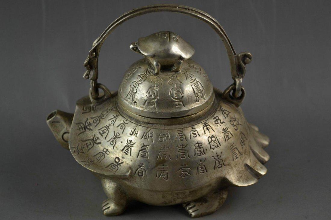 Old Handwork Tibetan Silver Carving God Carved Turtle &