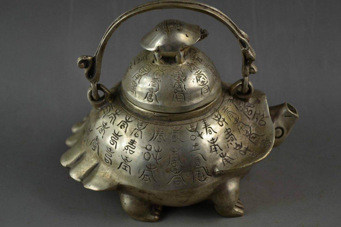 Old Handwork Tibetan Silver Carving God Carved Turtle & - 2