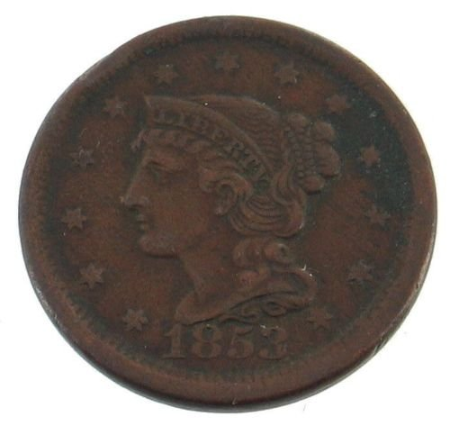 Rare Antique 1853 US Coin Braided Hair Large Cent ~
