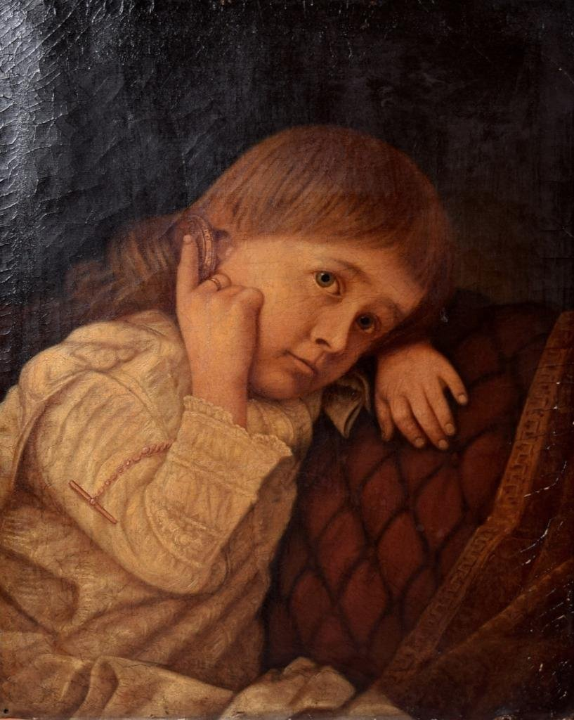 Antique LARGE Oil on Canvas Painting Young Child Girl